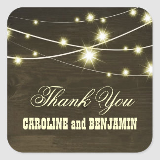 thank you rustic wood lights country wedding square sticker
