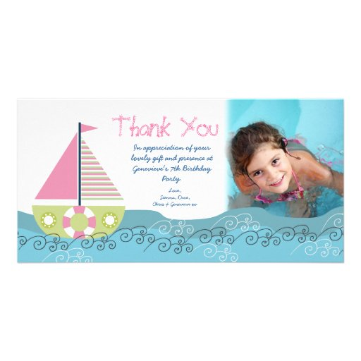 Thank You Sail Boat Birthday Party Photocard Picture Card
