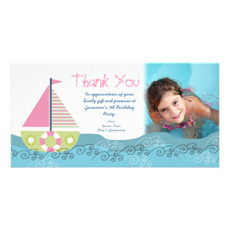 Thank You Sail Boat Birthday Party Photocard Personalised Photo Card
