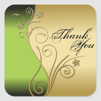Thank You Seal - Classy Green & Gold Wedding Square Sticker
