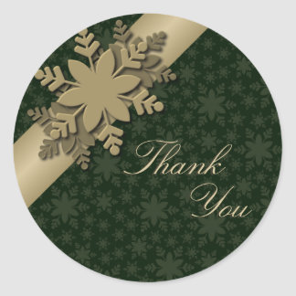 Thank You Seal Gold & Green Snowflake Wedding Round Sticker