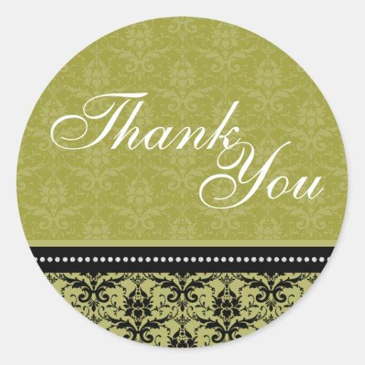 Thank You Seal - Green Elegant Damask Wedding Round Stickers