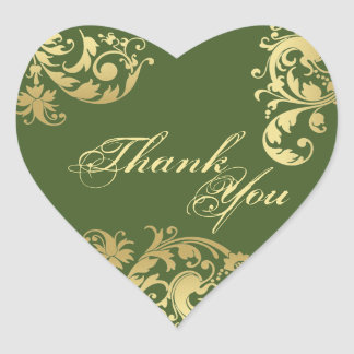 Thank You Seal - Green Gold Floral Wedding Heart Stickers
