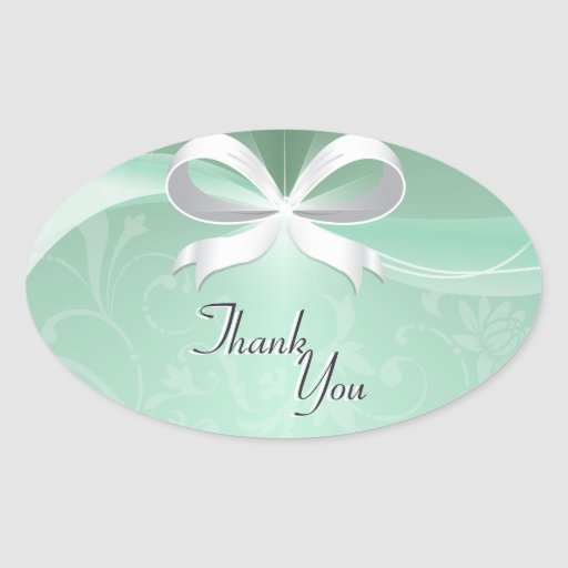 Thank You Seal Green White Floral Ribbon Wedding Sticker