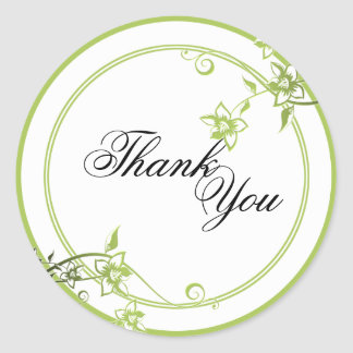 Thank You Seal - Green & White Floral Wedding Round Sticker