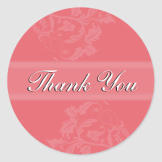Thank You Seal - Honeysuckle Pink Floral Wedding Round Sticker
