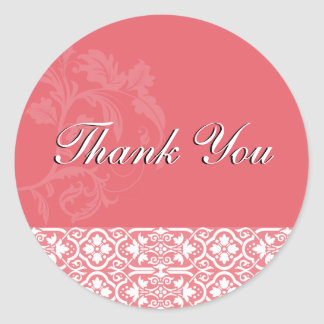 Thank You Seal - Honeysuckle Pinnk Damask Wedding Round Sticker
