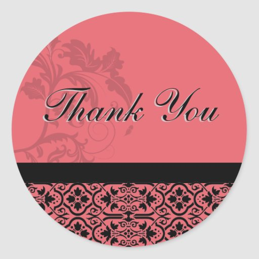 Thank You Seal - Honeysuckle Pinnk Damask Wedding Round Sticker