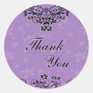 Thank You Seal - Lavender Purple Chandelier Floral Round Sticker