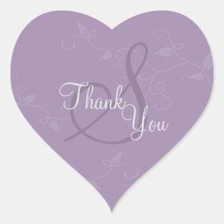 Thank You Seal - Lavender Purple Monogram Wedding Heart Sticker