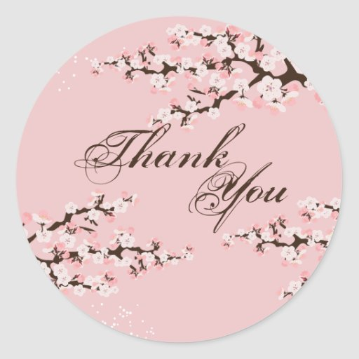 Thank You Seal - Pink Cherry Blossom Wedding Stickers