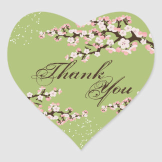 Thank You Seal - Sage Green Cherry Blossom Wedding Heart Sticker
