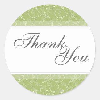 Thank You Seal - Sage Green Victorian Wedding Round Sticker