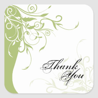 Thank You Seal - Sage Green & White Floral Wedding Square Sticker
