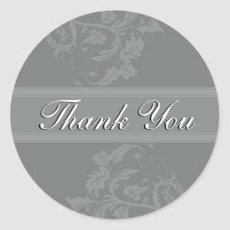 Thank You Seal - Slate Grey Floral Wedding Round Sticker