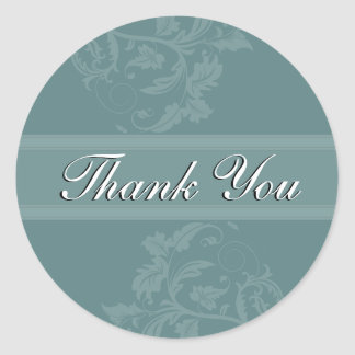 Thank You Seal - Turquoise Blue Floral Wedding Stickers