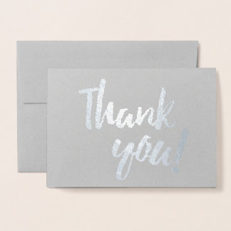 Thank You Silver Foil Gray Brush Brushstroke Foil Card