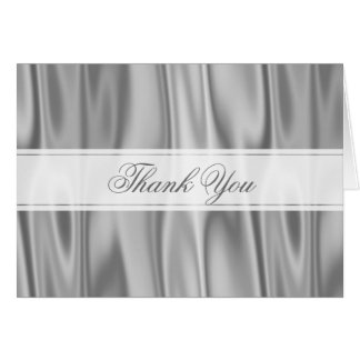 Thank You:  Silver Gray Faux Satin Fabric Card