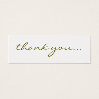 Thank You: Silver Greeting Tag Mini Business Card