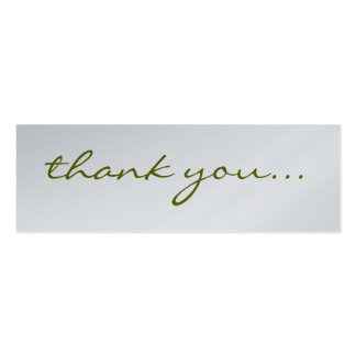 Thank You: Silver Greeting Tag Pack Of Skinny Business Cards