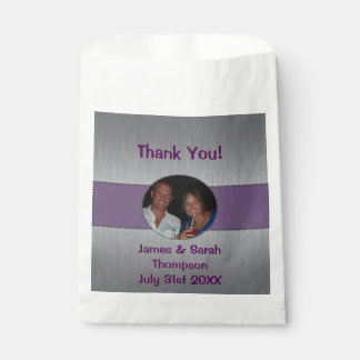 Thank You Silver & Purple Photo Favor Bag
