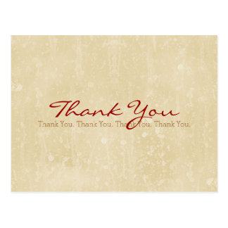 Thank You Simple Beige Grunge Background Postcard