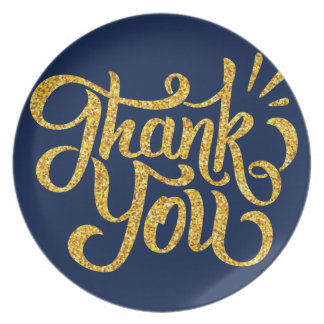 Thank you simple golden sparkling glitters plate