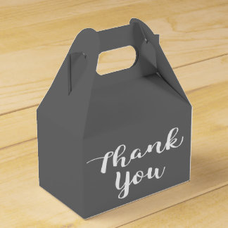 Thank You Slate Gray and White Wedding Party Grey Favour Box