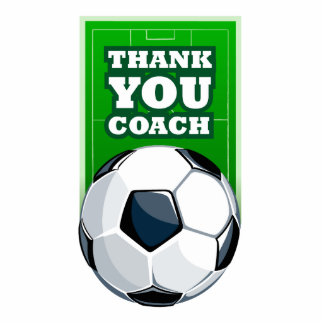 Thank you soccer coach standing photo sculpture