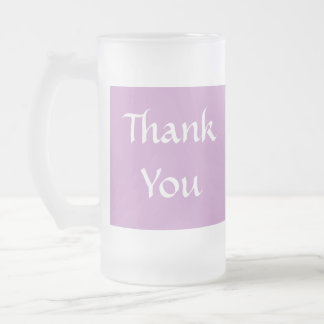 Thank You. Soft Dusky Purple and White. Frosted Glass Mug