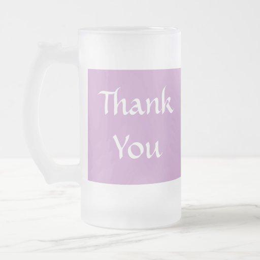 Thank You. Soft Dusky Purple and White. Mug