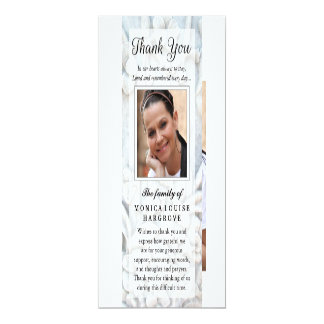 Thank You Soft White Floral Photo Memorial Poem 10 Cm X 24 Cm Invitation Card