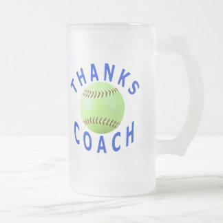 Thank You Softball Coach Gift Frosted Glass Mug