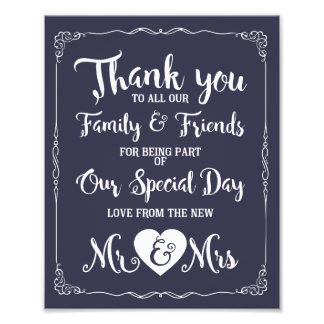 thank you special day wedding sign photo print
