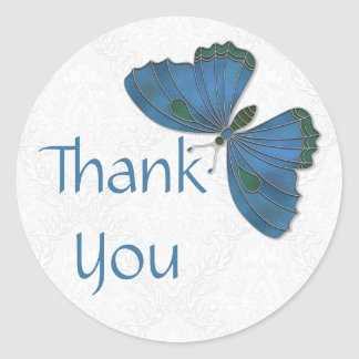 Thank You Sticker Butterfly Brocade blue