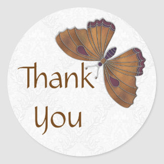 Thank You Sticker Butterfly Brocade brown