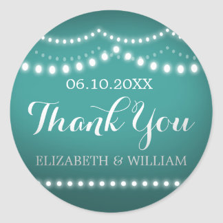Thank You Sticker Teal White Bridal Wedding Lights