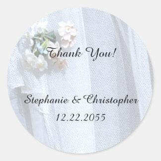 Thank You Sticker, Wedding, Vintage Lace Round Sticker