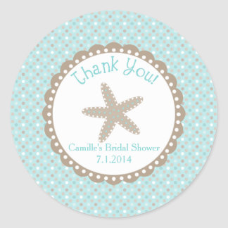 Thank You Sticker with Starfish in Aqua