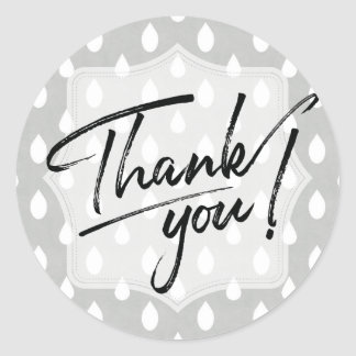 Thank You Stickers | Grey Raindrops Pattern