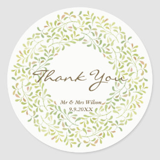 thank you stickers leaf pattern personalise them