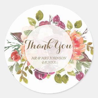 thank you stickers marsala floral orange
