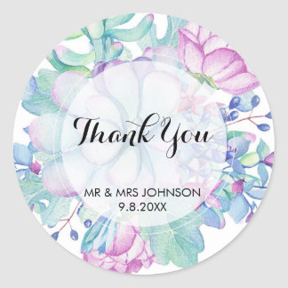 thank you stickers succulent cactus botanical