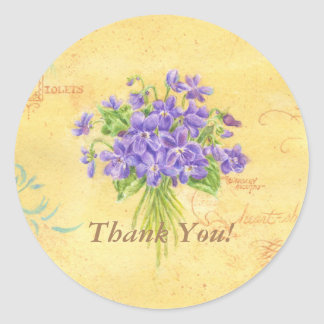 Thank You Stickers Violet Bouquet Round