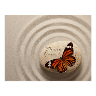 Thank You Stone in a Zen Garden With Butterfly Postcard