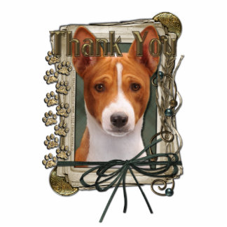 Thank You - Stone Paws - Basenji Standing Photo Sculpture