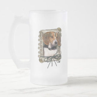 Thank You - Stone Paws - Beagle Frosted Glass Mug