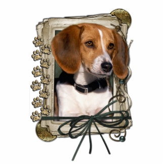 Thank You - Stone Paws - Beagle Standing Photo Sculpture