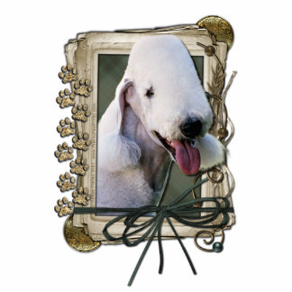 Thank You - Stone Paws - Bedlington Terrier Standing Photo Sculpture