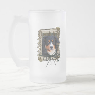Thank You - Stone Paws - Bernese Mountain Dog Frosted Glass Mug